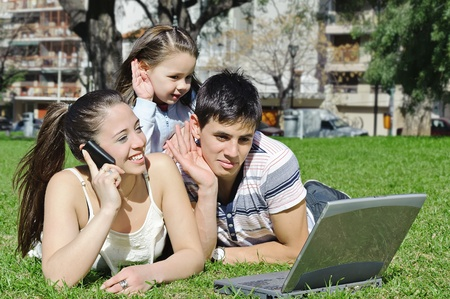 Happy family enjoy outdoors Stock Photo