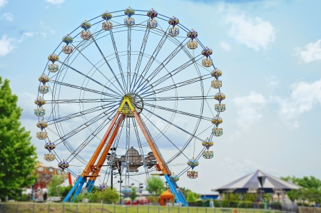 Ferris wheel against blue sky photo
