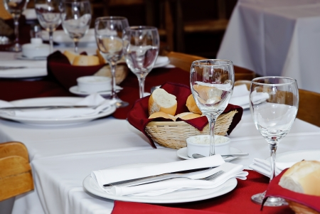 Served table in restaurant  photo