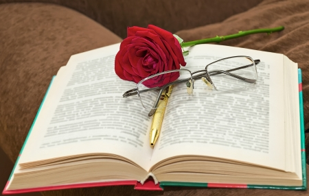 Reading glasses with pink in the book