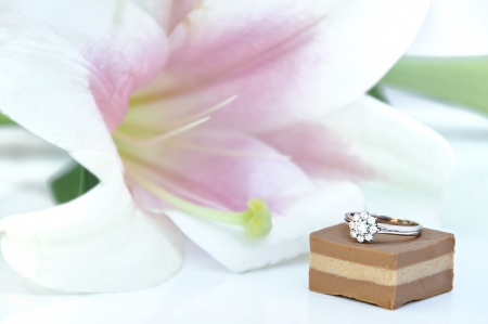 Diamond ring with chocolates photo