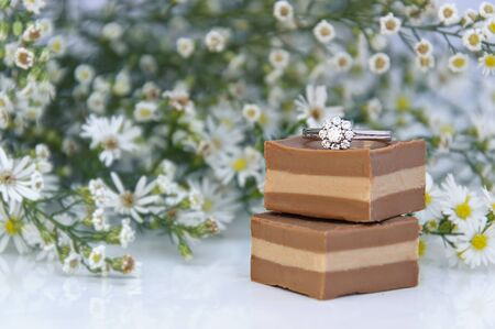 beautiful bouquet of flowers and chocolates for Valentine's rings photo