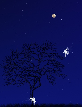 Flying fairy silhouette in night sky illustration illustration