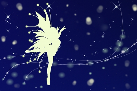 fairy silhouette: Flying fairy silhouette in night sky illustration