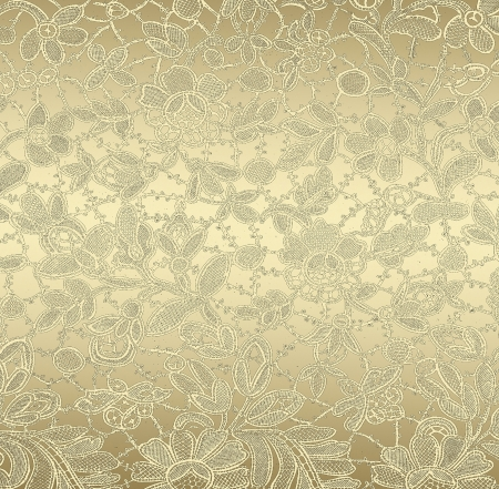 Golden floral pattern, grunge textured background. photo
