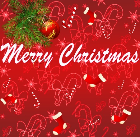 Christmas Greeting Card. Merry Christmas lettering photo