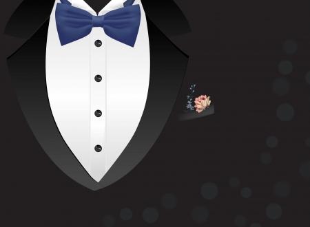 business invitation: Tuxedo background with bow
