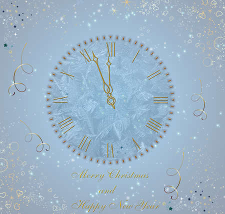 Christmas and New Year clock background. photo