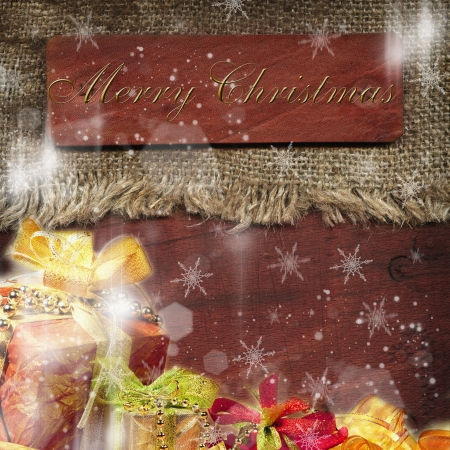 Wooden plaque with a Christmas greeting, Christmas decorations photo