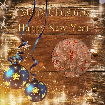 Wooden plaque with a Christmas greeting, Christmas decorations Stock Photo - 16292431