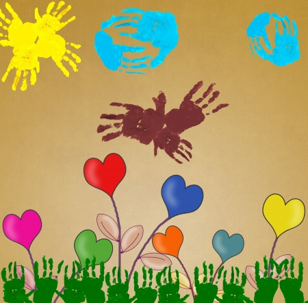 handprints: love hearts floral background and Handprints in different colors  Stock Photo