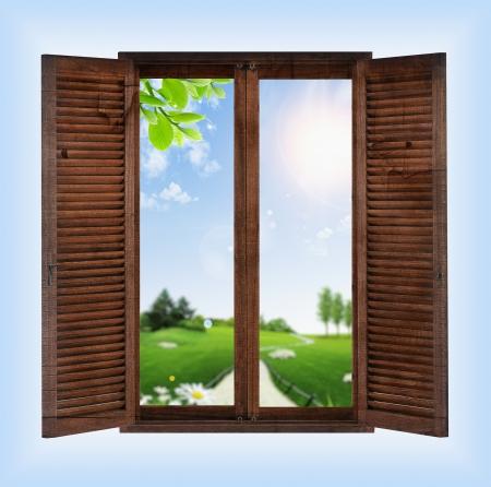 raam met uitzicht op de tuin Stockfoto