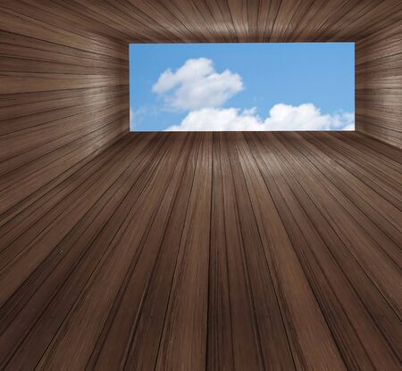 A Wood window wall with square copyspace  photo