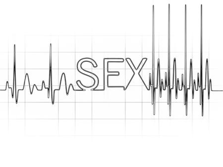 Abstract hart klopt cardiogram illustratie teken sex geschreven met gloeiende letters Stockfoto