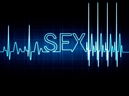 Abstract heart beats cardiogram illustration sign sex written with glowing letters