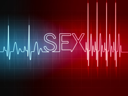 Abstract heart beats cardiogram illustration sign sex written with glowing letters Stock Illustration - 16731231