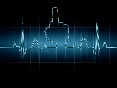 Abstract heart beats cardiogram illustration Middle finger Sign illustration