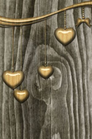 wooden hearts on grey background photo
