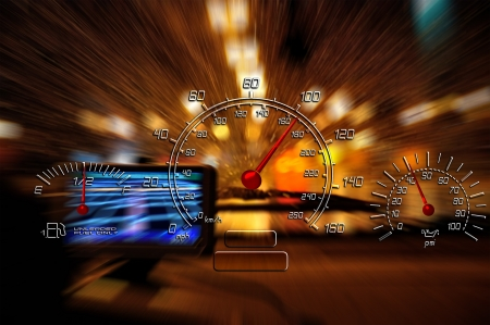 Road to the nowhere auto gauges Stock Photo - 16731162