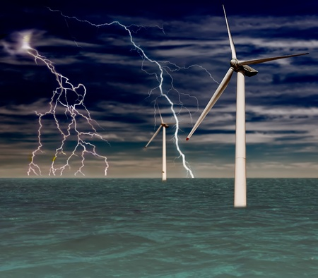 windmills at sea with lightning torment photo