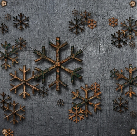 Abstract 3D Snowflakes metal Design Stock Photo - 16731087