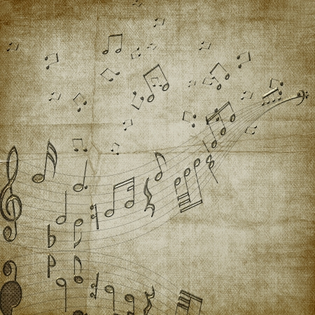 Abstract dark background with musical notes photo