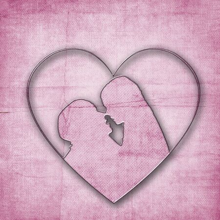 Silhouette of couple shaped heart photo