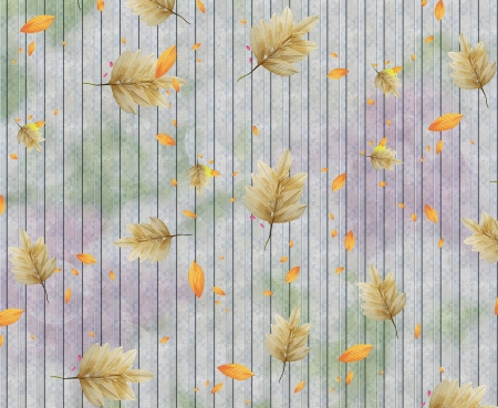 striped background with dry leaves of tree  photo