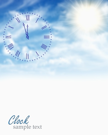Clock face in blue sky  photo
