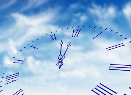 Clock face in blue sky  photo