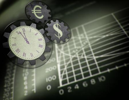 klok symbolen fonds geld in een dagboek Stockfoto
