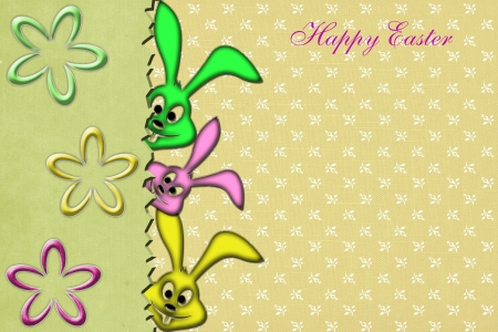 Easter Background with cute rabbit photo