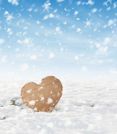 Paper Heart in snow Stock Photo - 18815207