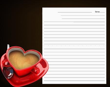 een kopje koffie met hart gevormde menu Stockfoto