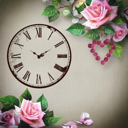 achtergrond met bloemen en klok