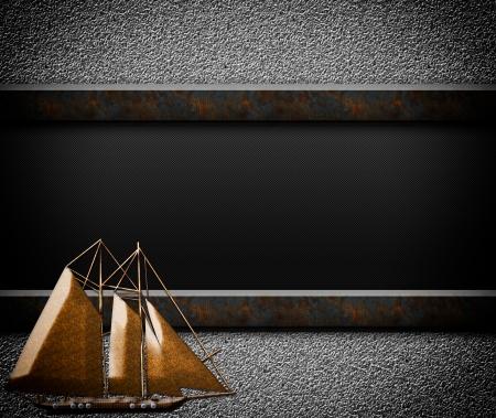 Houten zeilboot op grunge achtergrond