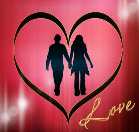 Silhouet van liefde Stockfoto