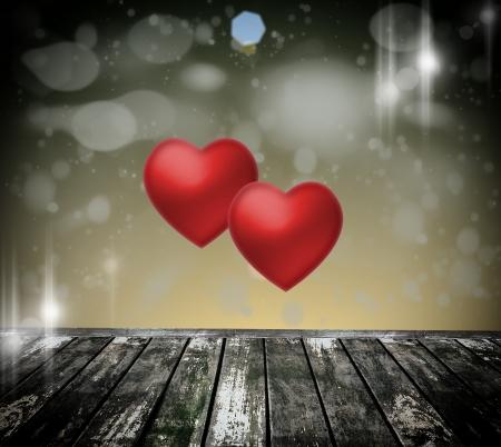 Abstract hart op een donkere houten vloer