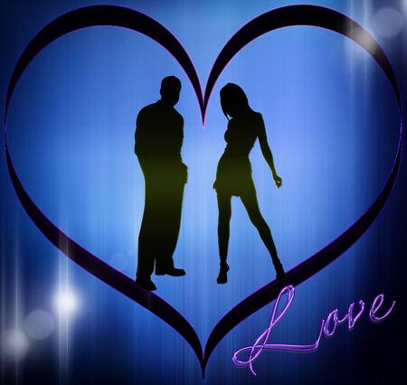 Silhouet van de liefde Stockfoto