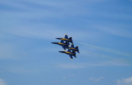 Blue Angels flying in tight Diamond formation Stock Photo