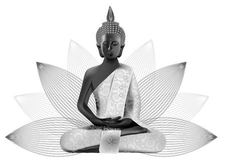 銀と黒の色で背景に蓮の瞑想仏姿勢
