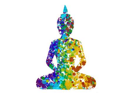 Meditar postura de Buda en colores del arco iris silueta Foto de archivo - 50698648