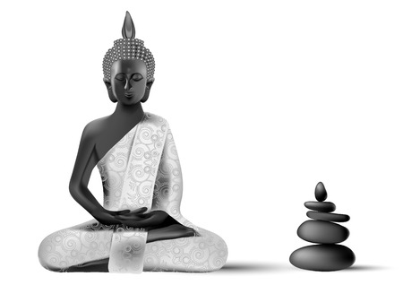 clarification: Meditating Buddha posture in silver and black colors with balanced stone pyramid Illustration