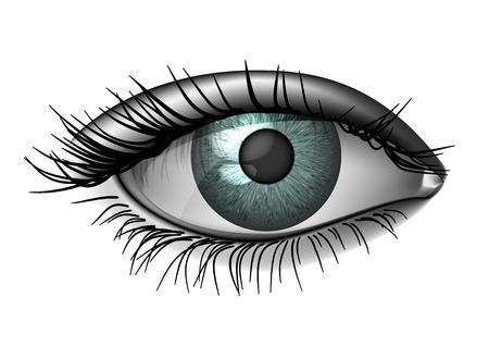 Realistische vrouwelijke oog close-up, wijd open Stock Illustratie
