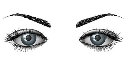 Realistyczne kobieta oko z bliska, szeroko otwarte spojrzenie z brwiami