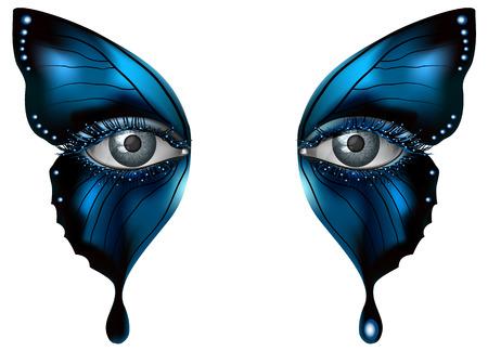 femme papillon: oeil femme réaliste close up maquillage artistique ailes de papillon bleu