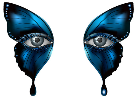 blue eyes girl: Realistic female eye close up artistic makeup – blue butterfly wings
