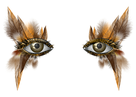Realistische vrouwelijke oog close-up artistieke make-up wilde vogel veer