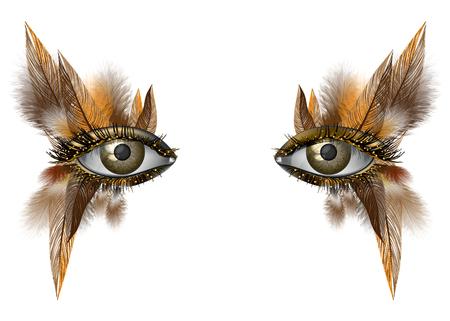 Realistyczne kobieta oko bliska makijaż artystyczny dziki ptak piórko