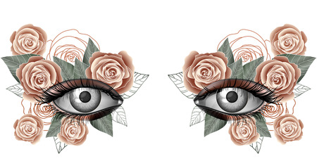 masked ball: Look of the spring, photorealistic eye artistic makeup with flowers, rose